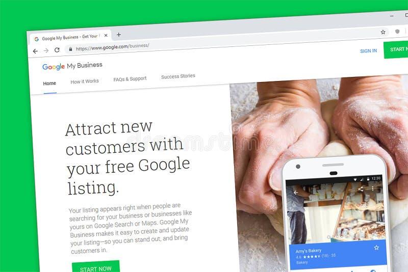 Google mein Geschäftswebsitehomepage lizenzfreies stockbild
