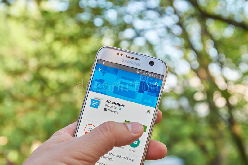 Google Messenger app. MONTREAL, CANADA - MAY 23, 2016 : Google Messenger application on Samsung S7 screen. Messenger from Google is a communications app that royalty free stock images