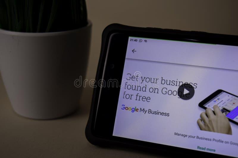 Google min affärsbärare-applikation på den Smartphone skärmen Min affär är en freeware royaltyfri foto