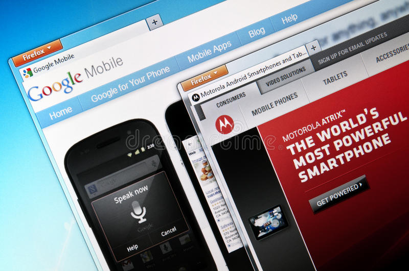Google Mobile and Motorola Mobility. Close up image of Google Mobile`s and Motorola`s websites. On august 15, 2011 Google Inc. announced that it is acquiring royalty free stock images