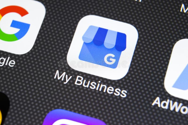 Google My Business application icon on Apple iPhone X screen close-up. Google My Business icon. Google My business application. royalty free stock image