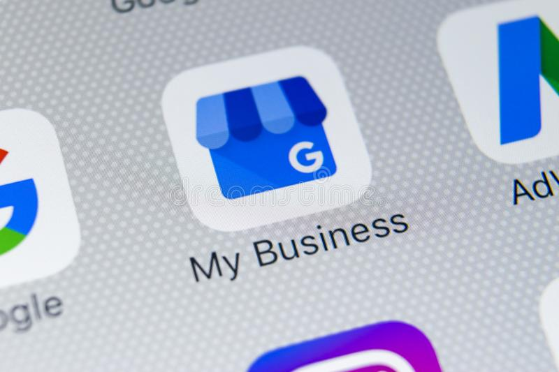 Google My Business application icon on Apple iPhone X screen close-up. Google My Business icon. Google My business application. Sankt-Petersburg, Russia royalty free stock images