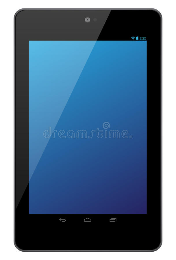 Google Nexus 7 tablet. The new Google Nexus 7 illustration. Front view of a Google Nexus 7 android tablet isolated on white background royalty free illustration