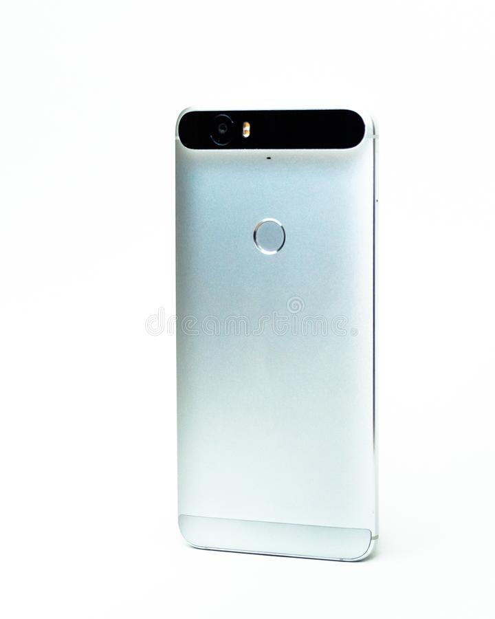 Google Nexus 6P srebro Huawei Frontowym widokiem Odizolowywa? Bia?ego t?o zdjęcie royalty free