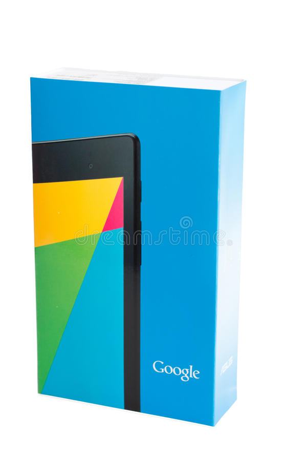 Google Nexus 7 v2 Retail Box on white background. Google's Second Generation Nexus 7 features the world's sharpest 7 tablet screen and set to be released in the stock photos