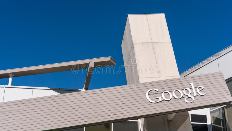 Google office, or Googleplex. MOUNTAIN VIEW, CA/USA - NOV, 2014: Exterior view of Googles Googleplex Corporate headquarters. Google is a multinational company stock image