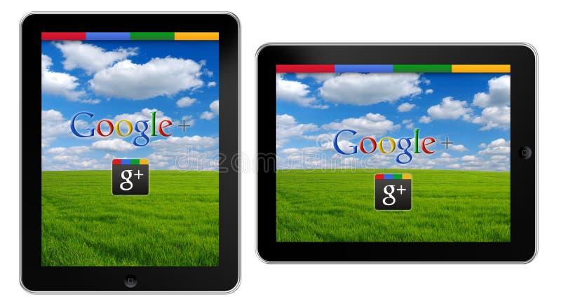 Google+ op iPad stock illustratie