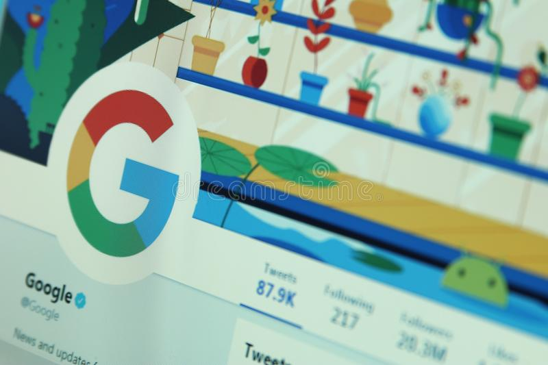 Google op tjilpen stock afbeelding