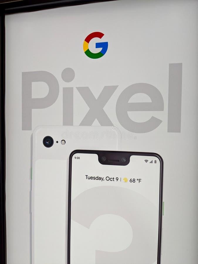 Google-Pixel 3 und XL-Zeichen stockbilder