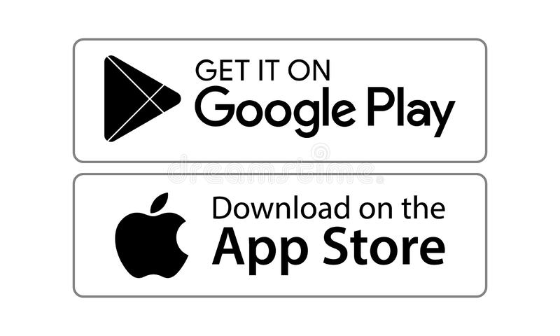 Google play app store icons. Google play and app store icons on white background - editable vector illustration