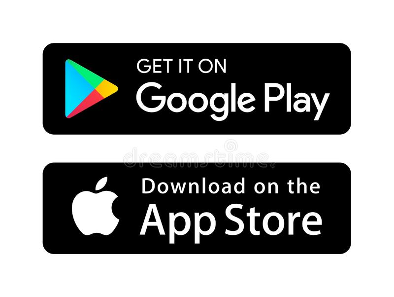 Google play app store icons. Simple vector filled flat Google play app store icons logo solid pictogram isolated on white background vector illustration