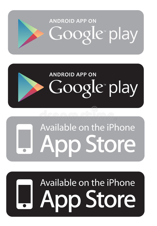 Google play and app store. Some usable communication app logos such android app on google play and available on the Iphone appstore stock illustration