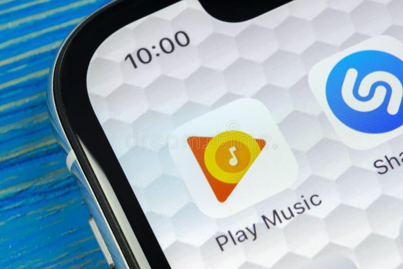 Google Play Music Application Icon On Apple IPad Pro Screen Close-up