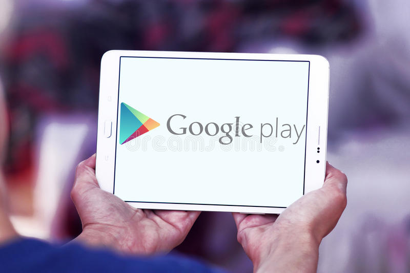 Google play store logo. Logo of android google play store on samsung tablet. Google Play Store is Google`s official store for applications, movies, music, books royalty free stock images