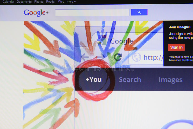 google plus royaltyfri bild