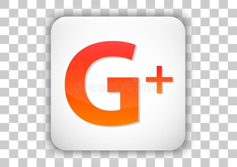 Google Plus Białego projekta ikony ogólnospołeczny medialny guzik z symbolem Inside ilustracji