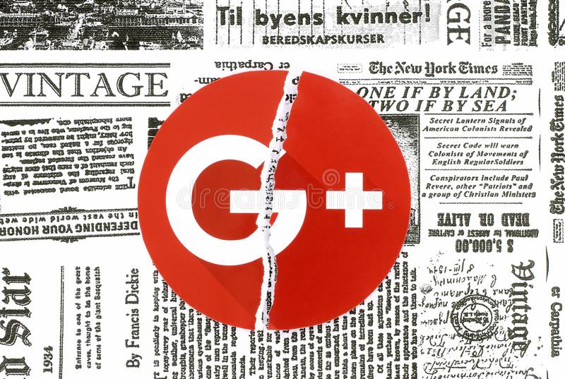 Google plus icon torn and put on retro newspaper. Kiev, Ukraine - February 06, 2019: Google plus icon printed on paper, torn and put on retro newspaper. Google royalty free stock photos