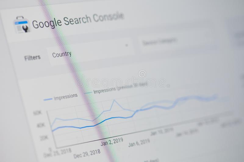Google search console. New york, USA - january 24, 2019: Google search console menu on device screen pixelated close up view royalty free stock photos