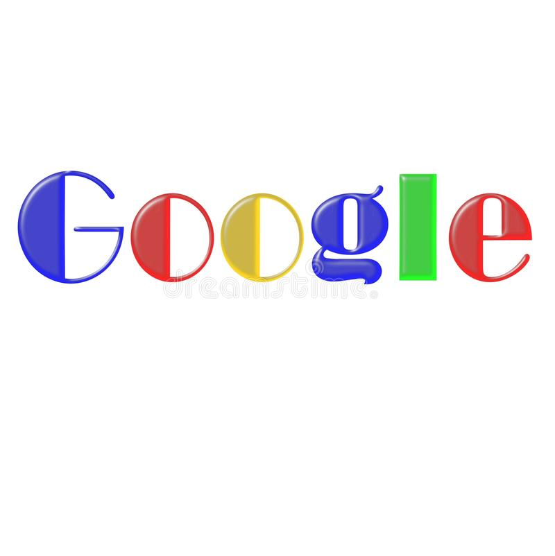 Sign search google in different fonts. Google search engine caption in different fonts family on white background can serve as a design for f shirt and other stock illustration