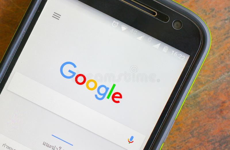 Google search on mobile screen. BANGKOK, THAILAND - November 29, 2016: Closeup photo of brand new Google Nexus 5, powered by Android 7.1 version, with Google stock photography