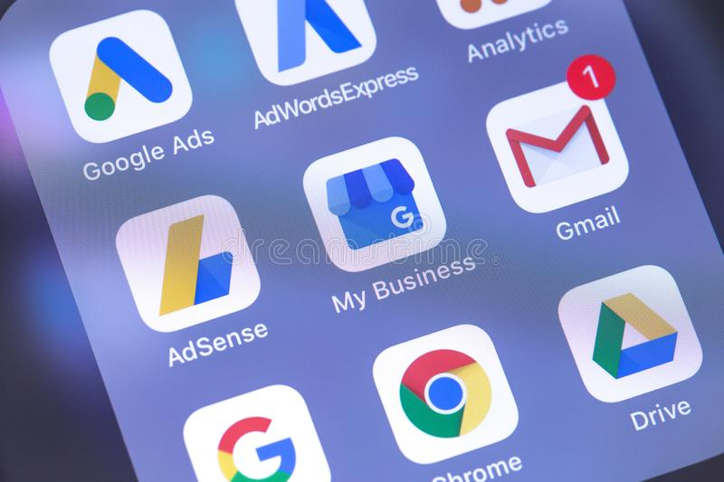 Google services apps icons on the screen smartphone. Google is t stock photos