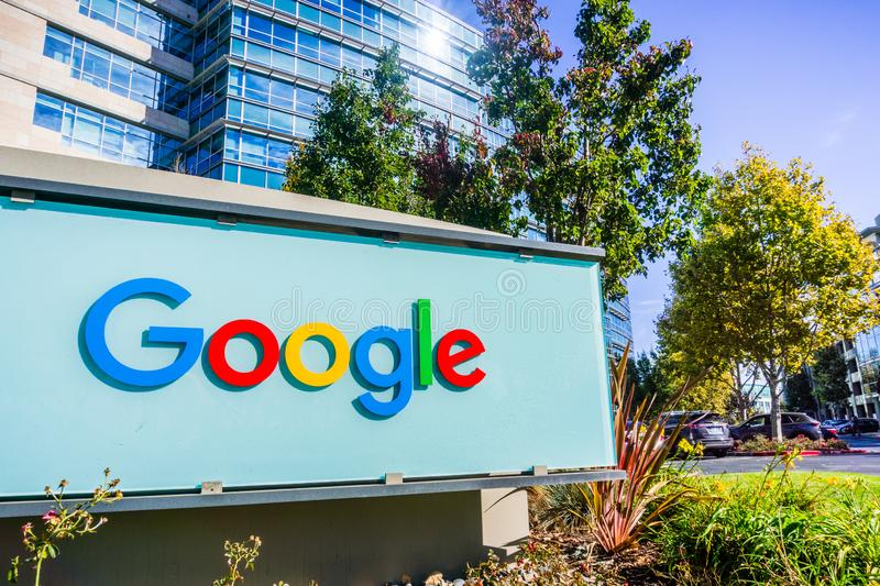 Google sign in front of one of their office buildings. November 2, 2018 Sunnyvale / CA / USA - Google sign in front of the entrance to one of their office stock photos