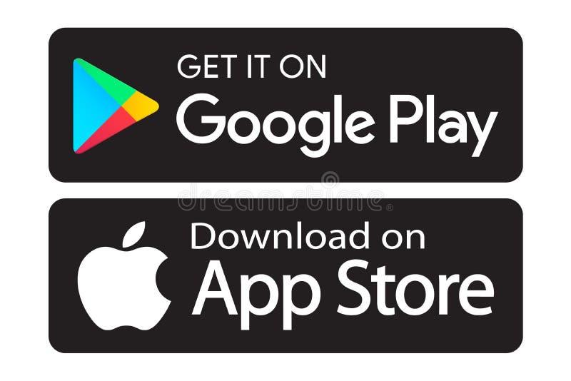 Google spelar app-lagersymboler royaltyfri illustrationer