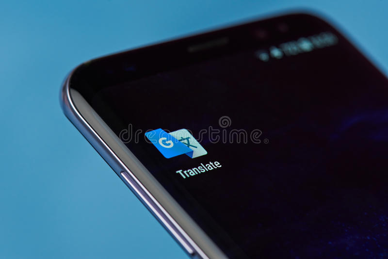 Google translate application icon. New york, USA - August 22, 2017: Google translate application icon on smartphone screen close-up stock images