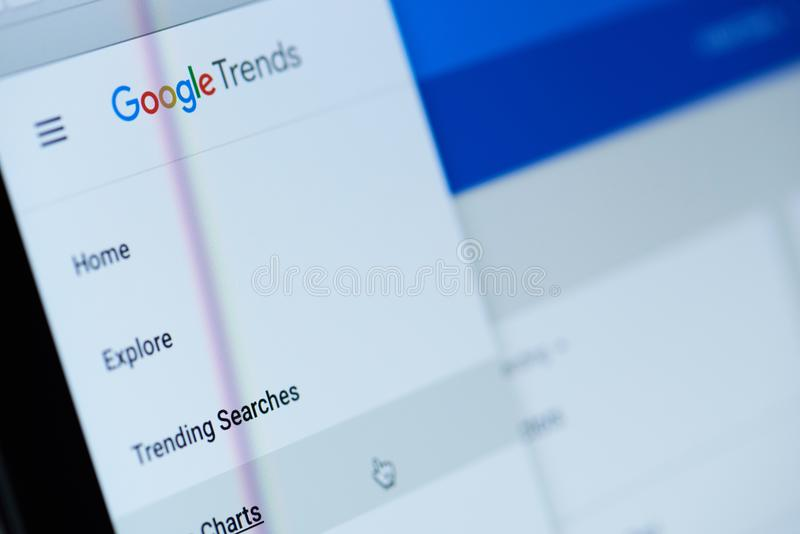 Google trends service. New york, USA - December 12, 2017: Google trends service menu on screen modern laptop close-up. Checking new trends on google stock photography