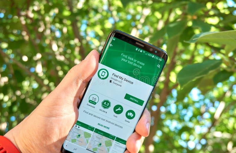 Google trova il mio app mobile del dispositivo su Samsung s8 fotografia stock libera da diritti