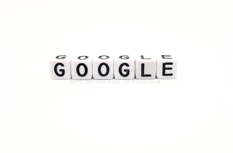 google word built with white cubes and black letters on white background royalty free stock image