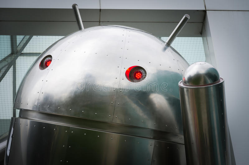 Googleplex - Android metal figure at Google Headquarters stock photos