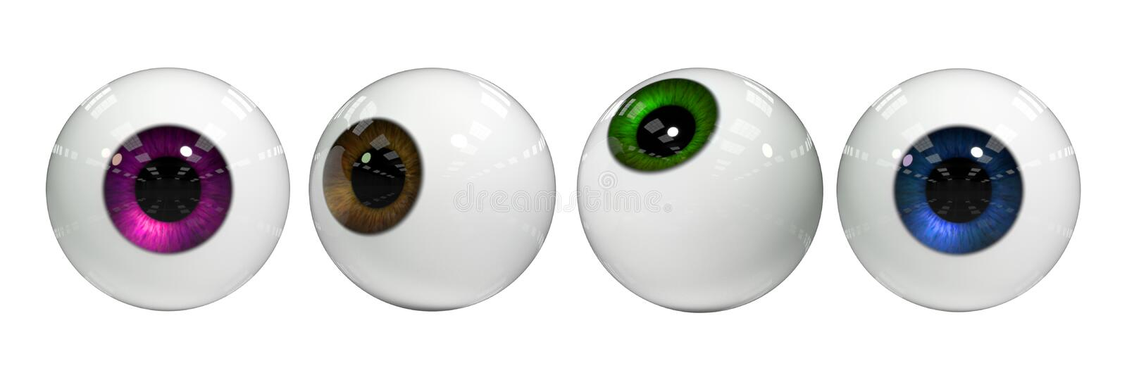Human eye balls in different intense colours isolated on white background 3d rendering banner. Googly eyes isolated on white ground royalty free illustration