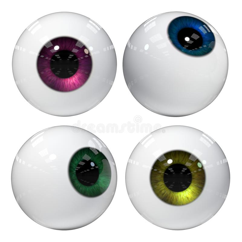 Human eyes in different intense colours isolated on white background 3d illustration. Googly eyes isolated on white ground stock illustration