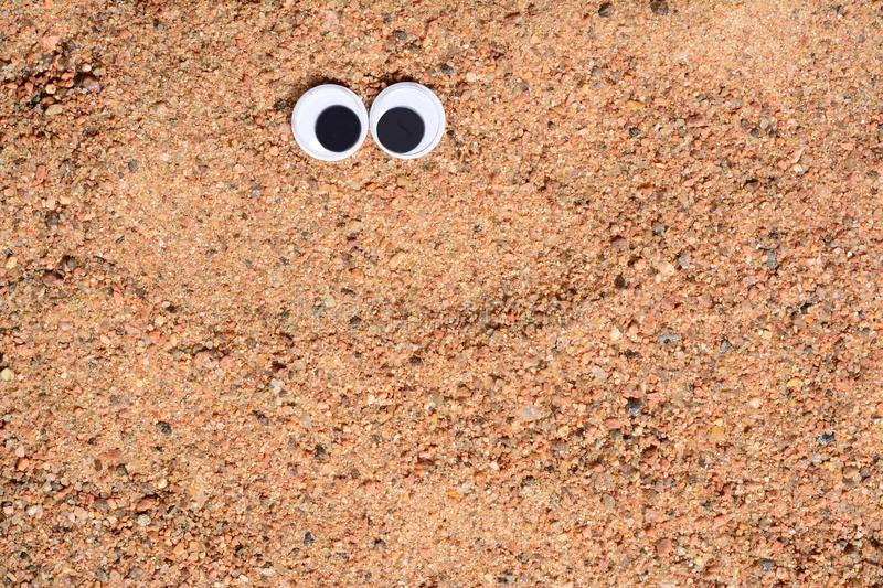 Googly eyes lying on the sea sand background.,close-up. Googly eyes lying on the sea sand background. Close up royalty free stock photo