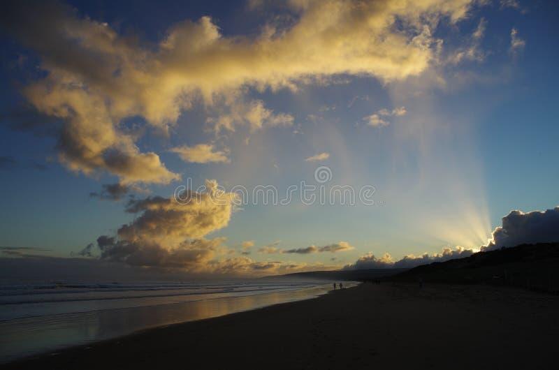 Goolwa solnedgång royaltyfria foton