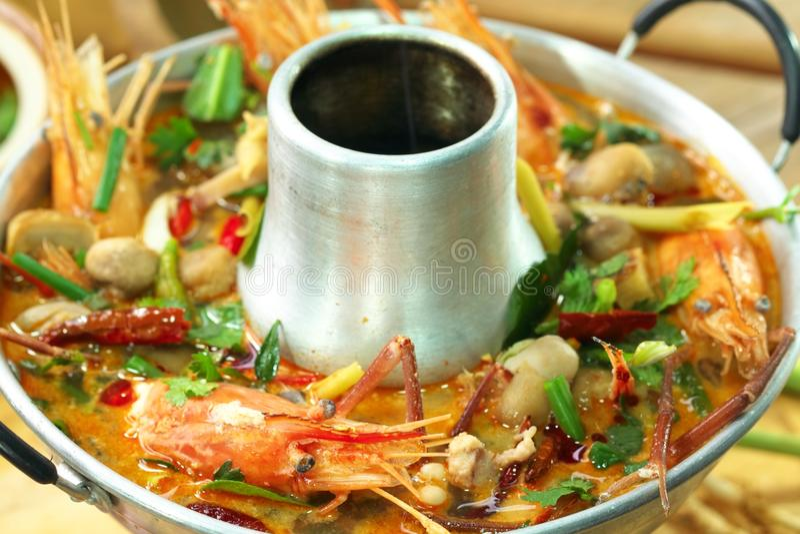 goong大虾汤辣汤姆yum 图库摄影