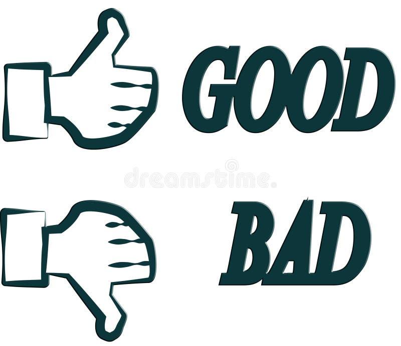 Goor o malo de la mano stock de ilustración