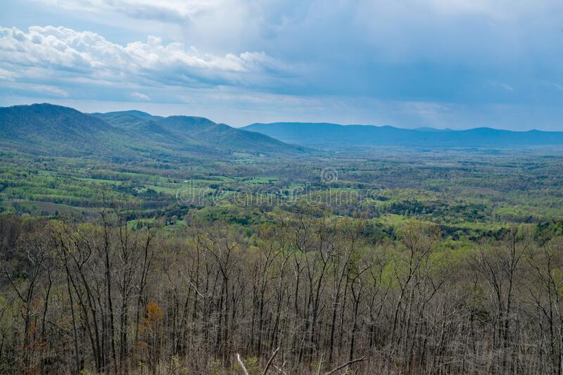 Goose Creek Valley, Porter Mountain and Rain. Scenic View of Goose Creek Valley with Porter Mountain in the background on a rainy day in the Blue Ridge Mountains royalty free stock photo