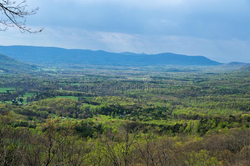 Goose Creek Valley, Porter Mountain and Rain. Scenic View of Goose Creek Valley with Porter Mountain in the background on a rainy day in the Blue Ridge Mountains royalty free stock image