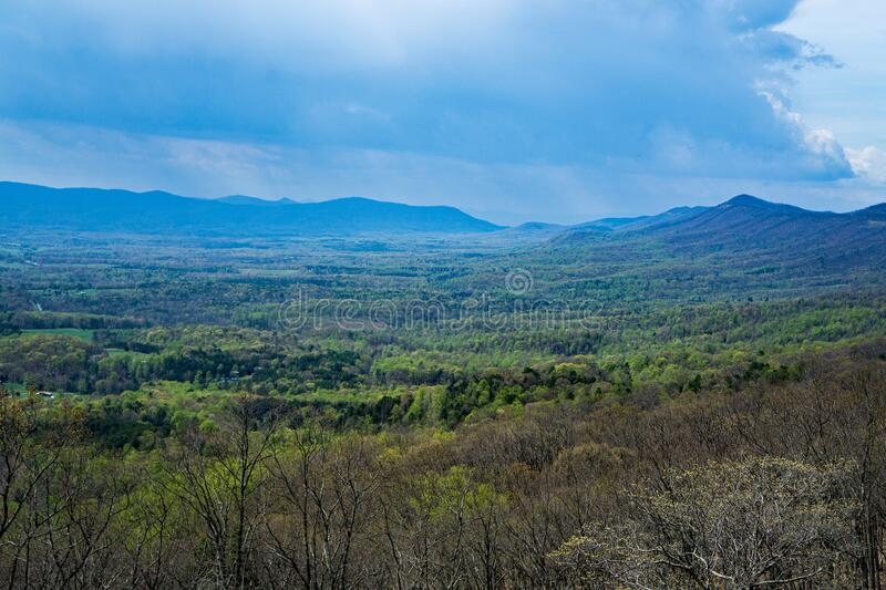 Goose Creek Valley, Porter Mountain and Rain. Scenic View of Goose Creek Valley with Porter Mountain in the background on a rainy day in the Blue Ridge Mountains stock photography