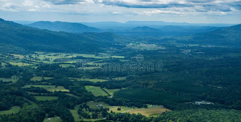 Goose Creek Valley and Porter Mountain, Virginia, USA. Scenic View of Goose Creek Valley with Porter Mountain in the background from the Blue Ridge Mountains of royalty free stock photography