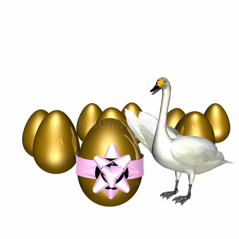 Large Goose Egg Gold Props : Goose with golden eggs stock illustration image of