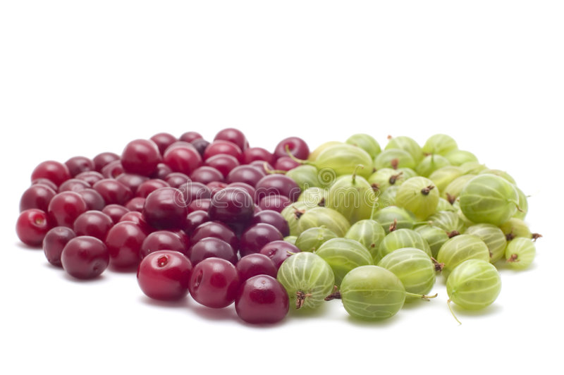 Download Gooseberries With Cherries On White Stock Photo - Image: 5823122