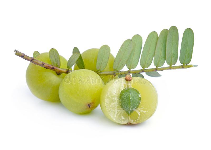Gooseberries on white background royalty free stock photos