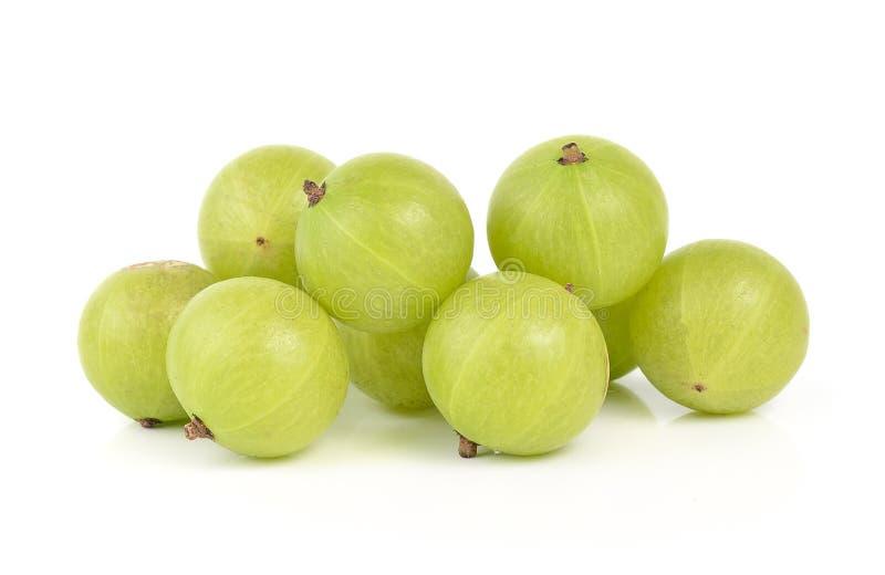 Gooseberries on white background stock images