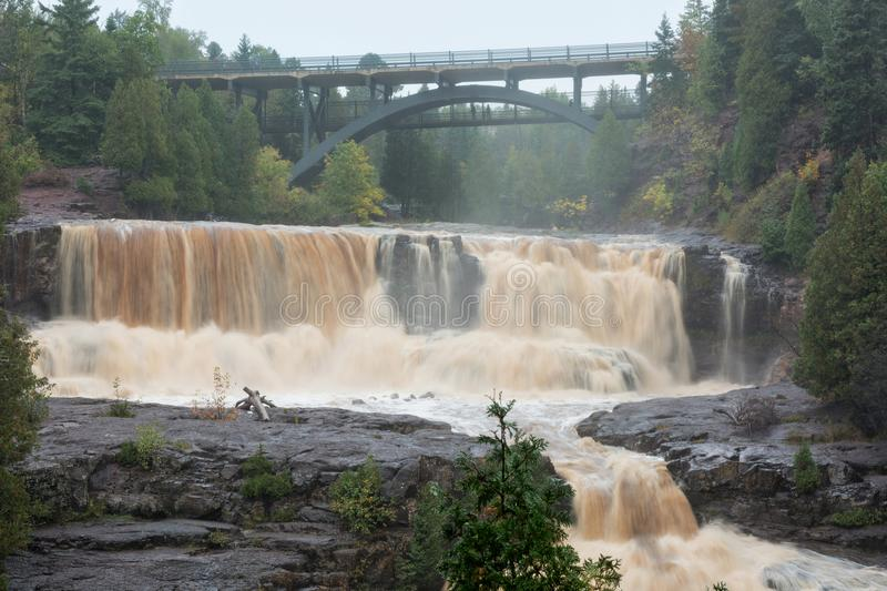 St. Louis River in Minnesota. Gooseberry Falls State Park along the North Shore of Lake Superior in Minnesota on a misty rainy day stock images