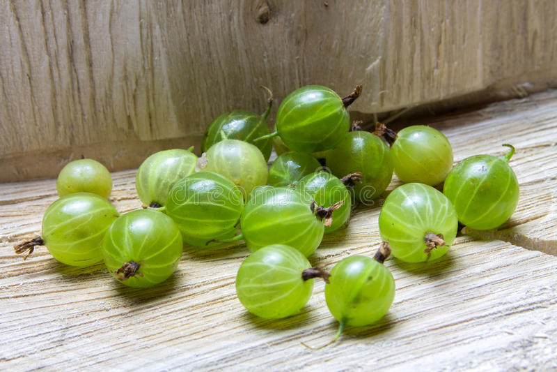 gooseberry Groseilles à maquereau sur un fond en bois images stock