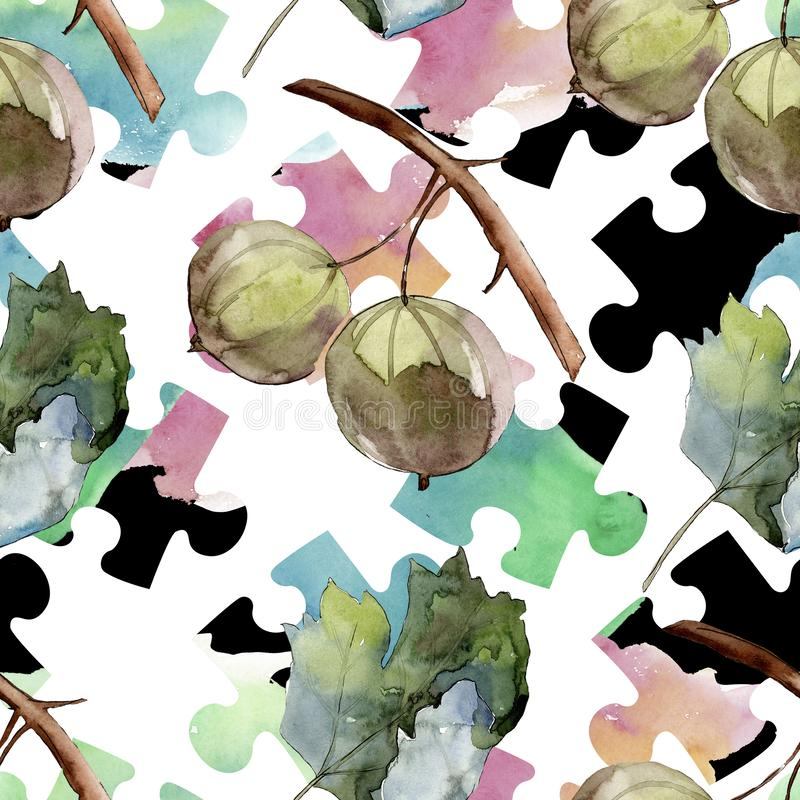 Gooseberry healthy food. Watercolor background illustration set. Seamless background pattern. Gooseberry healthy food. Watercolor background illustration set stock illustration