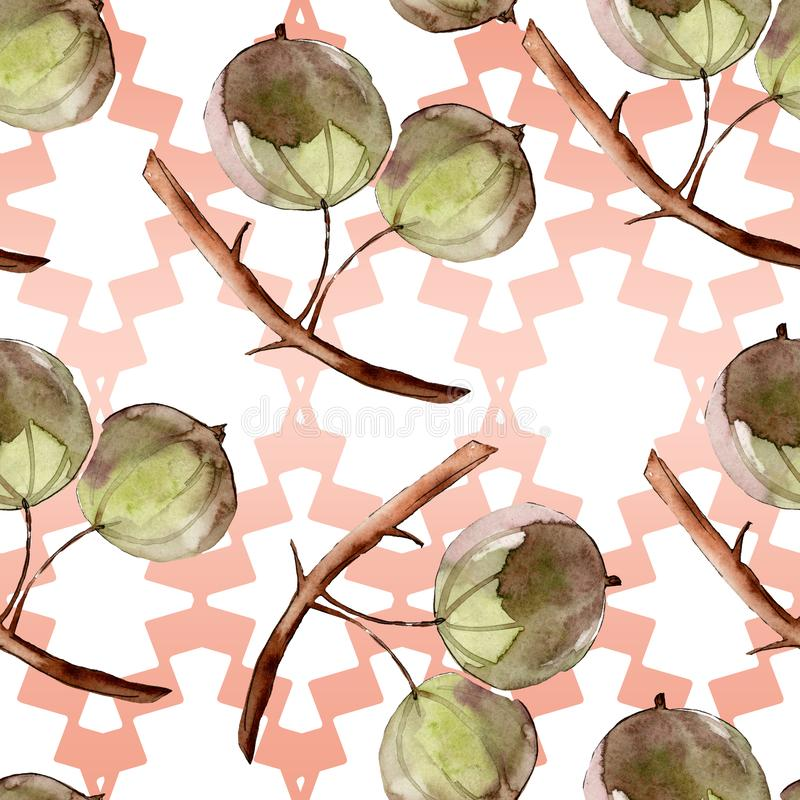 Gooseberry healthy food. Watercolor background illustration set. Seamless background pattern. Gooseberry healthy food. Watercolor background illustration set royalty free illustration